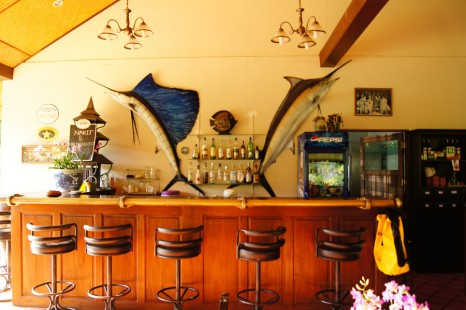 Our Tang-Mo restaurant bar, Sailfish and Marlin on the wall